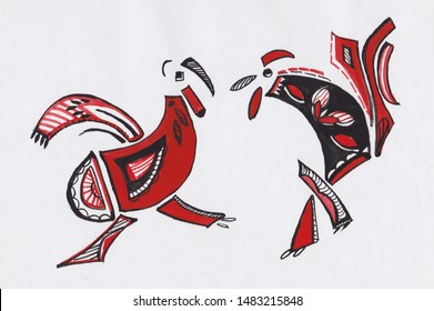 black, white and red  picture, battle of two cock
