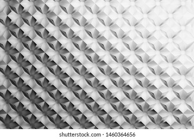 Black and white repeating pattern with inverted pyramids triangles and circles. 3d illustration.