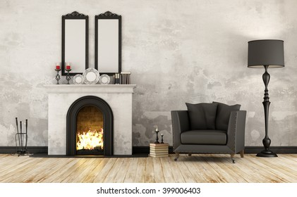 Black and white retro room with fireplace and armchair - 3D Rendering