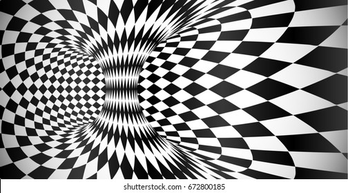 Black and white rhombus pattern surface optical illusion abstract background
