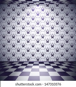 Black and white room with floral wallpaper and checked floor