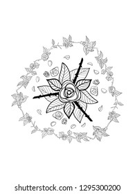 Black and White Rose Mandala. Hand drawn digitally on my tablet. For downloads and coloring only. If you wish to use for other purpose, please send me an enquiry at clemencemorianiATgmail.com. Thanks