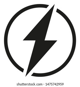 Black and white rounded lightning silhouette. Power energy symbol. Electricity themed illustration for icon, stamp, label, certificate, brochure, gift card, poster, coupon or banner background decor