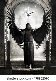 Black and white scenery with dark angel and dove.3D illustration.