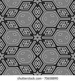 Black and white seamless background resembling three dimensional cubes - Escher style