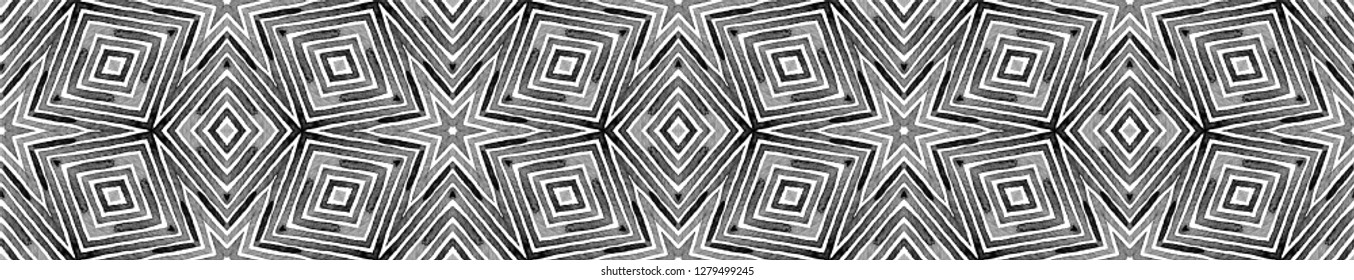 Black and white Seamless Border Scroll. Geometric Watercolor Frame. Actual Seamless Pattern. Medallion Repeated Tile. Glamorous Chevron Ribbon Ornament.