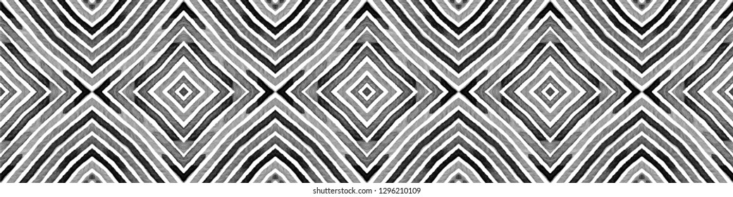 Black and white Seamless Border Scroll. Geometric Watercolor Frame. Actual Seamless Pattern. Medallion Repeated Tile. Favorable Chevron Ribbon Ornament.