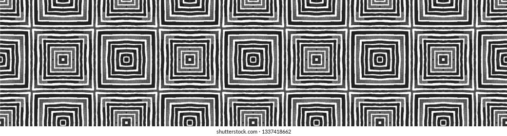 Black and white Seamless Border Scroll. Geometric Watercolor Frame. Actual Seamless Pattern. Medallion Repeated Tile. Dazzling Chevron Ribbon Ornament.