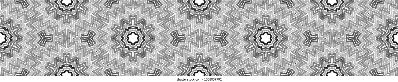 Black and white Seamless Border Scroll. Geometric Watercolor Frame. Admirable Seamless Pattern. Medallion Repeated Tile. Eminent Chevron Ribbon Ornament.