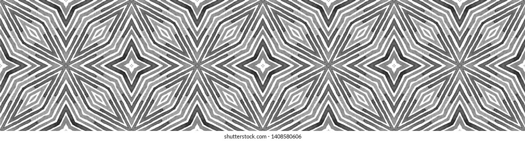 Black and white Seamless Border Scroll. Geometric Watercolor Frame. Actual Seamless Pattern. Medallion Repeated Tile. Artistic Chevron Ribbon Ornament.