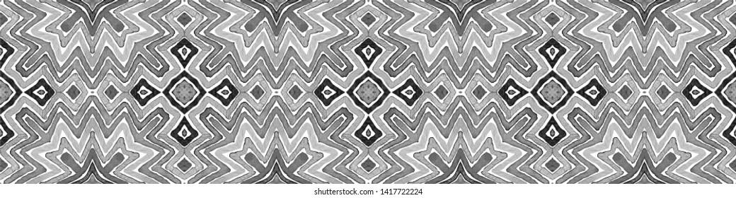 Black and white Seamless Border Scroll. Geometric Watercolor Frame. Admirable Seamless Pattern. Medallion Repeated Tile. Breathtaking Chevron Ribbon Ornament.