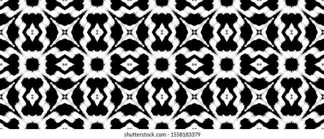Black and White Seamless Contemporary Art. Endless Drawn Asian Motif. Charcoal Seamless Decorative Style. Black and White Boho Print. Slate Geometrical Sketch.