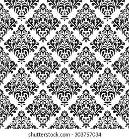 black white floral damask wallpaper pattern stock vector royalty