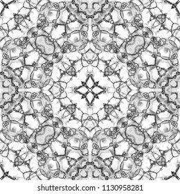 Black and white seamless pattern. Artistic delicate soap bubbles. Lace hand drawn textile ornament. Kaleidoscope mandala lingerie print. Uncommon abstract watercolor background.