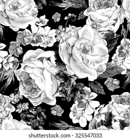 Black and white seamless pattern with Floral Bouquet of Roses, White Daisy and Blue Wild Flowers in Vintage Style, Greeting Card, watercolor illustration.