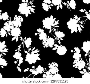 Black and white seamless and repeat mix flowers pattern design