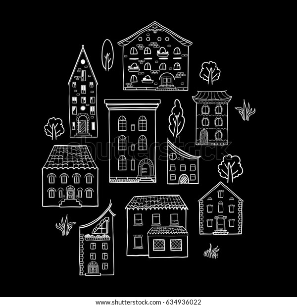 Black and white set of doodle houses, hand-drawn sketch house, isolated on black backround, raster copy of vector file