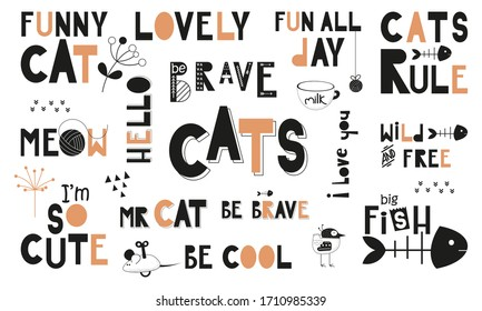 Black and white set of hand drawn cats quotes, phrases and words. Graphic design for t-shirt, posters, greeting cards. illustration. Funny cats theme.