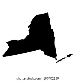 Black and white shape of the State of New York