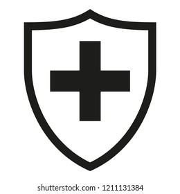 Black and white shield with medical cross silhouette. Health protection concept. Healthcare themed illustration for poster, leaflet, certificate, flayer or invitation background