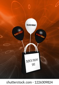 """black and white shopping bag and balloons with the text """"Black Friday and Sale"""". 3d rendering"""