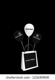 """black and white shopping bag and balloons with the text """"Black Friday"""". 3d rendering"""