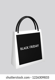 """black and white shopping bag with the text """"Black Friday"""". 3d rendering"""