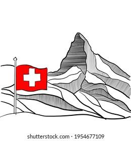 Schwarz-Weiß-Silhouette des berühmten Berges Cervino oder Matterhorn, Teil der italienischen und Schweizer Alpen. Handgefertigte Zeichnung des Hauptgipfels auf 4.478 Metern. Schweizer Flagge für Rot und Weiß