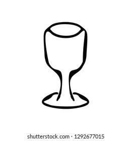 Black and white silhouette of a glass. Doodle, sketch, hand drawing, coloring. illustration