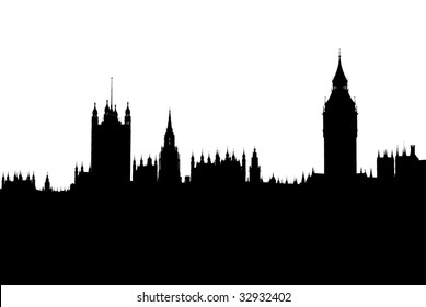Black and white silhouette of London houses of parliament and big ben skyline