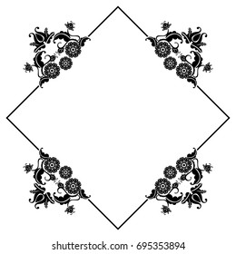 Black and white silhouette  square frame with decorative flowers. Raster clip art.