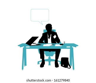 black and white silhouette of a young handsome businessman seated in the chair at his office desk and thinking about his business, a vacant blue text bubble above him