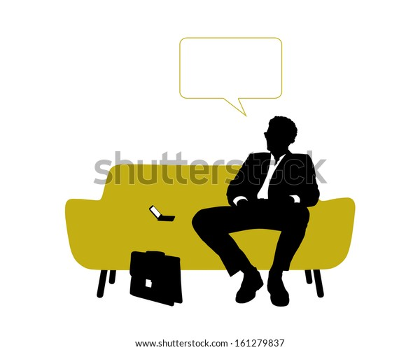 black and white silhouette of a young handsome businessman seated on yellow sofa having rest and thinking about his business, a vacant text bubble above him