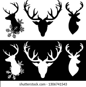 black and white silhouettes of deer