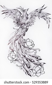 Black and white sketch of a beautiful Phoenix with flowers.