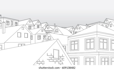 Black White Sketch of Cityscape Townhouses