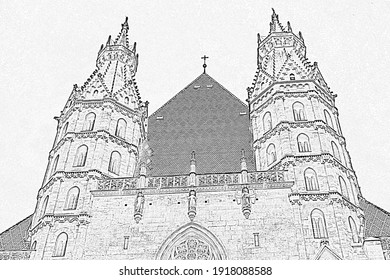 Black and white sketch drawing. St. Stephen's Cathedral in Vienna. The old building in the gothic style is a masterpiece of Austrian culture and the main attraction of the capital.