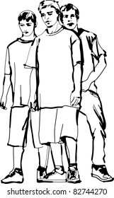 a black and white sketch of guys