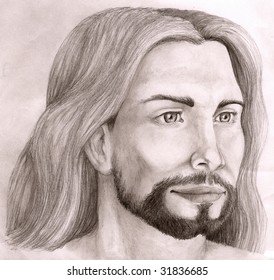 Black and white sketch of Jesus Christ, looking to the left side