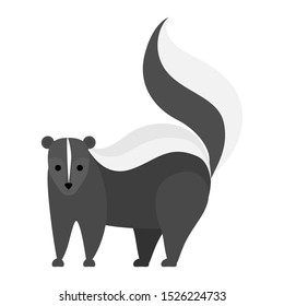 Black and white skunk animal. Creature with a striped tail and bad smell. Isolated flat  illustration