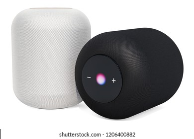 Black and white smart speakers, 3D rendering isolated on white background
