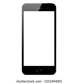 Black and white smartphone with flash on the screen on a white background. Mock up of phone with  blank screen, isolated