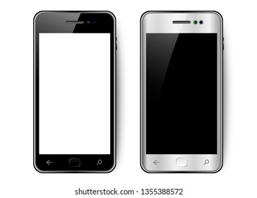 Black and white smartphone with shadow and glare, mobile phone with blank screen, isolated
