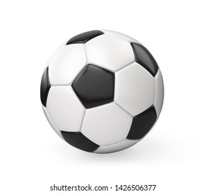 Black and White Soccer Ball Isolated on White Background , 3d render