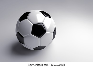 black and white soccer ball with shadow on gray background. 3d render