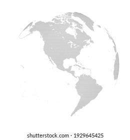 A black and white spherical dot map centered on the Americas. Extra large size.