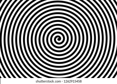 Black and white spiral strips in a tunnel. Ray burst style background, optical illusion. Abstract pattern design element. lines illustration