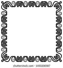 Black and white square frame of intertwined venomous snakes silhouette with copy space inside