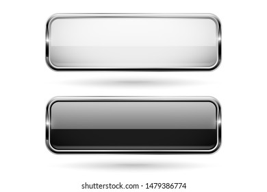 Black and white square glass 3d buttons with metal frame. Illustration isolated on white background. Raster version