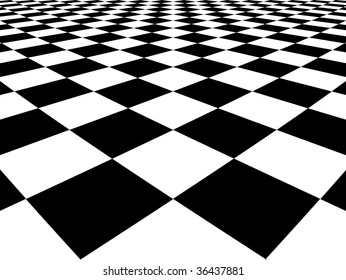 Black and white squares with perspective effect